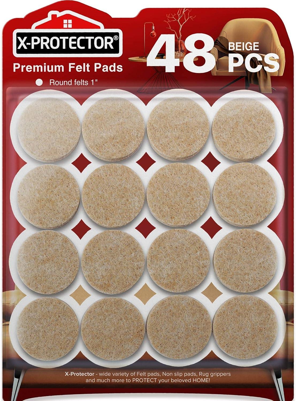 Felt Furniture Pads X Protector 48 Premium Felt Pads Floor Protector Beige Chair Felts Pads For Furniture Feet Wood Floors Best Furniture Pads For Hardwood Floors Protect Your Wood Floors
