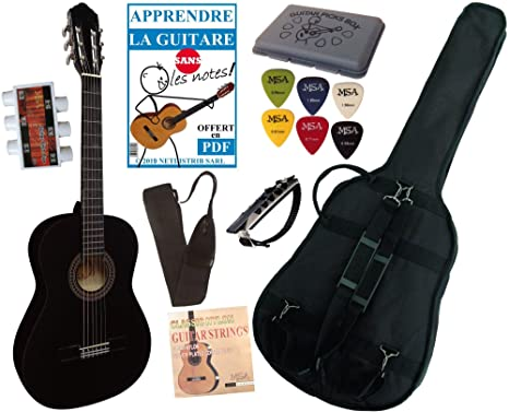 Guitarra española clásica (tamaño 4/4), color negro