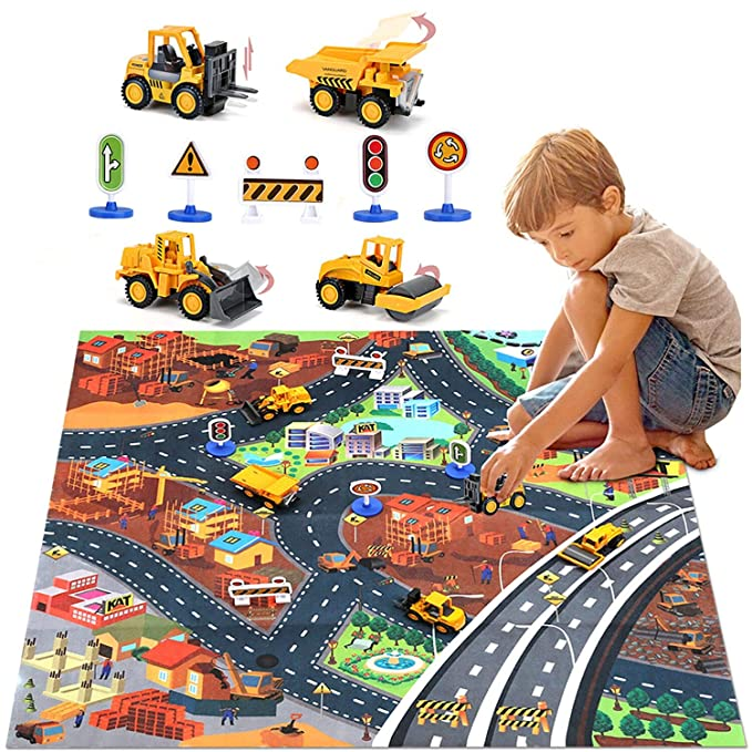 Construction Vehicles Truck Toys Set with Play Mat, Mini Engineering Diecast Trucks Pull Back cars, Alloy Metal Car Play Set with 6 Road Signs, 4 Trucks and Play Mat, Toy Trucks for Toddlers, Kids