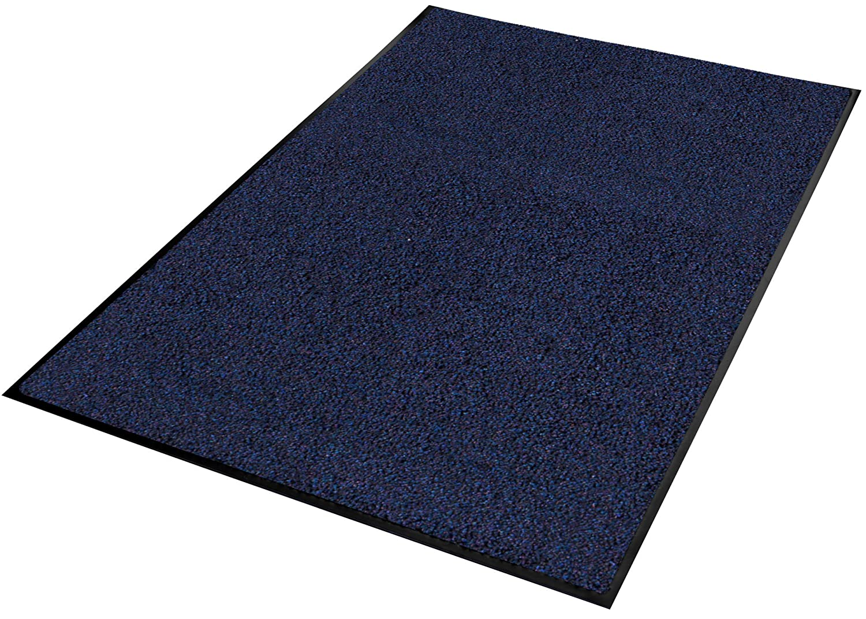 5x7 Guardian Platinum Series Indoor Wiper Floor Mat Rubber with Nylon Carpet Blue
