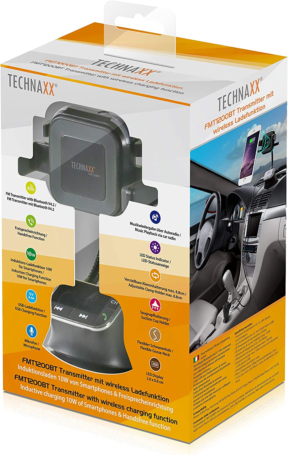 Technaxx FMT1200BT Transmitter with Wireless Charging Function