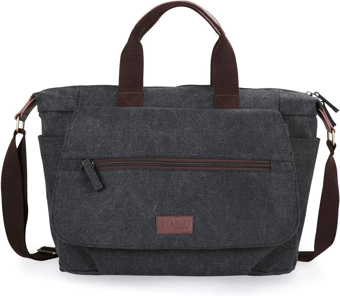 IDAILU Women Travel Weekend Bag Canvas Large Shoulder Totes Overnight Carry On Luggage Handbags (Black, Large)