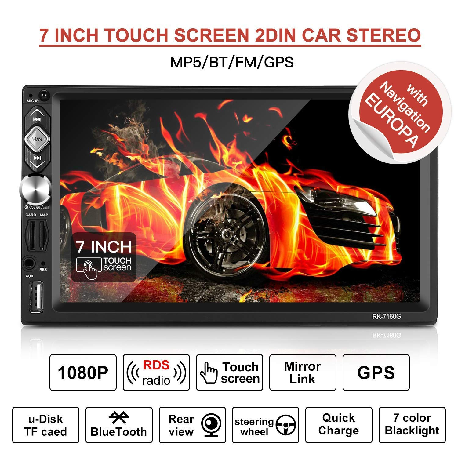 """7/"""" 2Din TFT 1080P Auto MP5 MP3 Player RDS Bluetooth Audio Radio Stereo AM//FM ISO"""