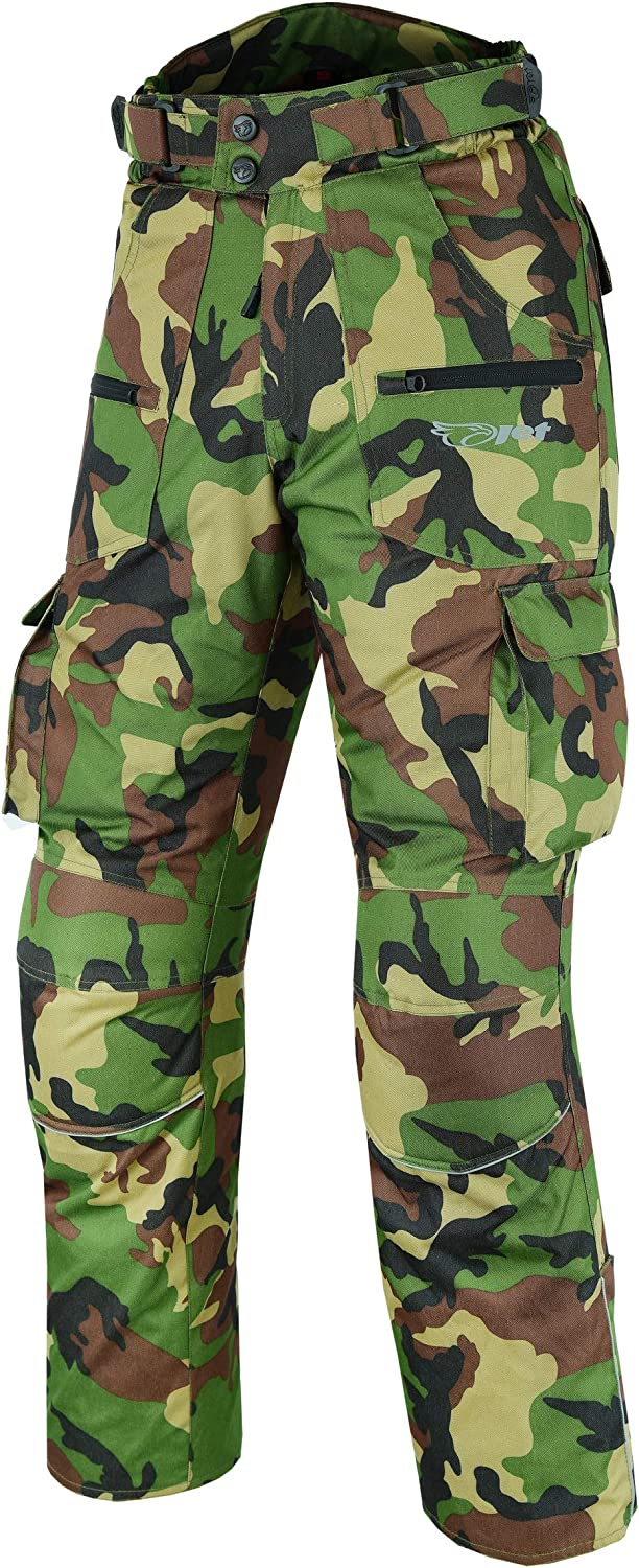JET Mens Motorcycle Motorbike Trousers Pants Textile CE Armoured Cargo Waterproof Protective CAMO W32 L30, Green Camo