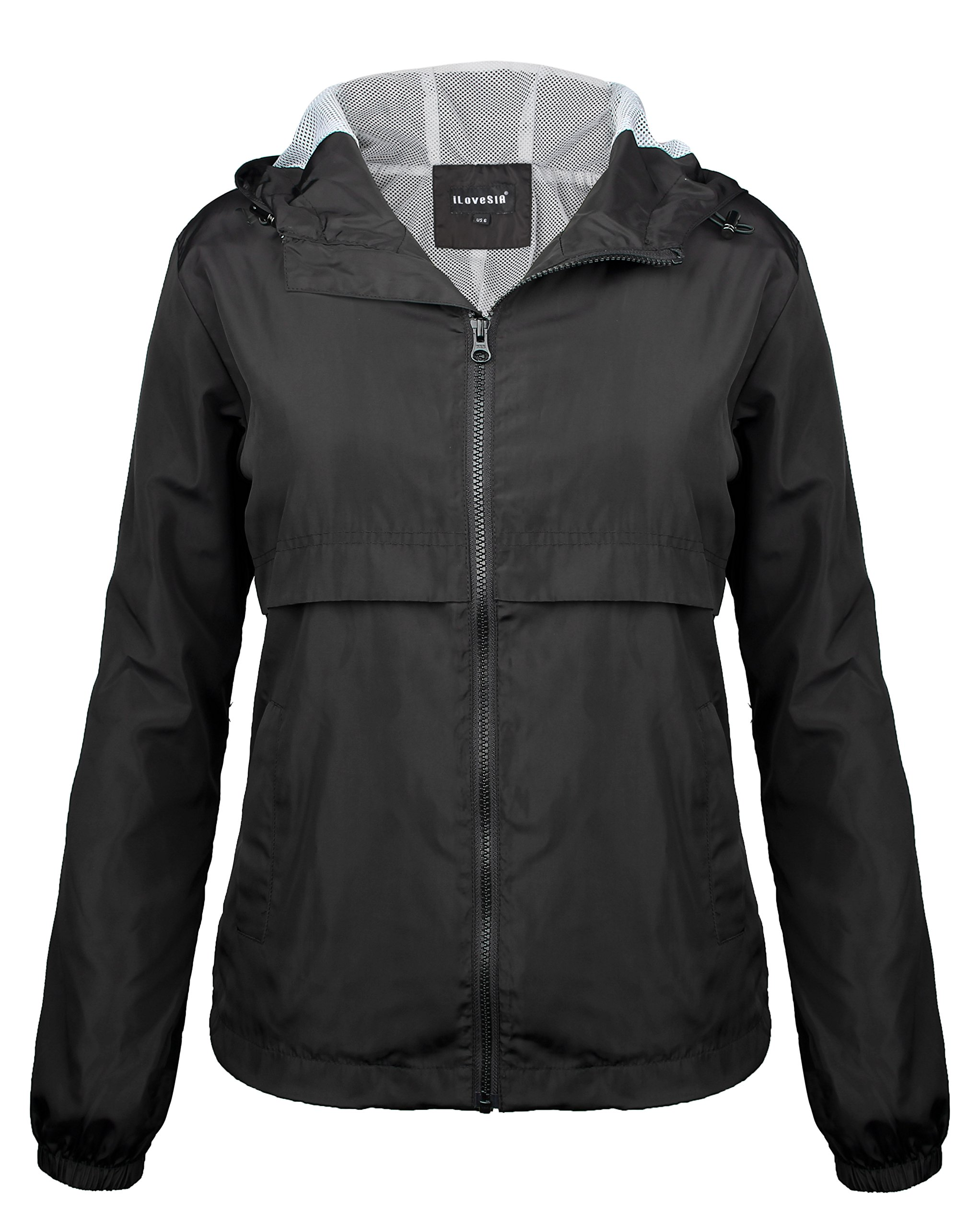 iLoveSIA Women's Outdoor Rain Jacket with Hood Black Size 12