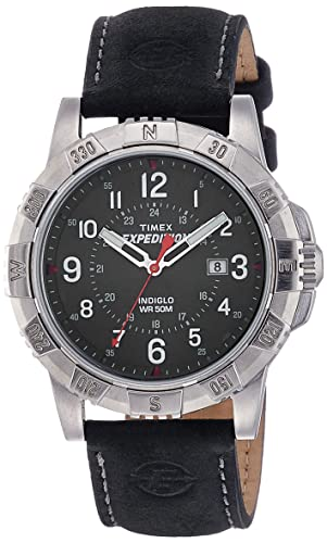 65bfeb633d75 Timex T49988 Men s Expedition Indiglo Night Light Black Dial Black Leather  Strap Watch