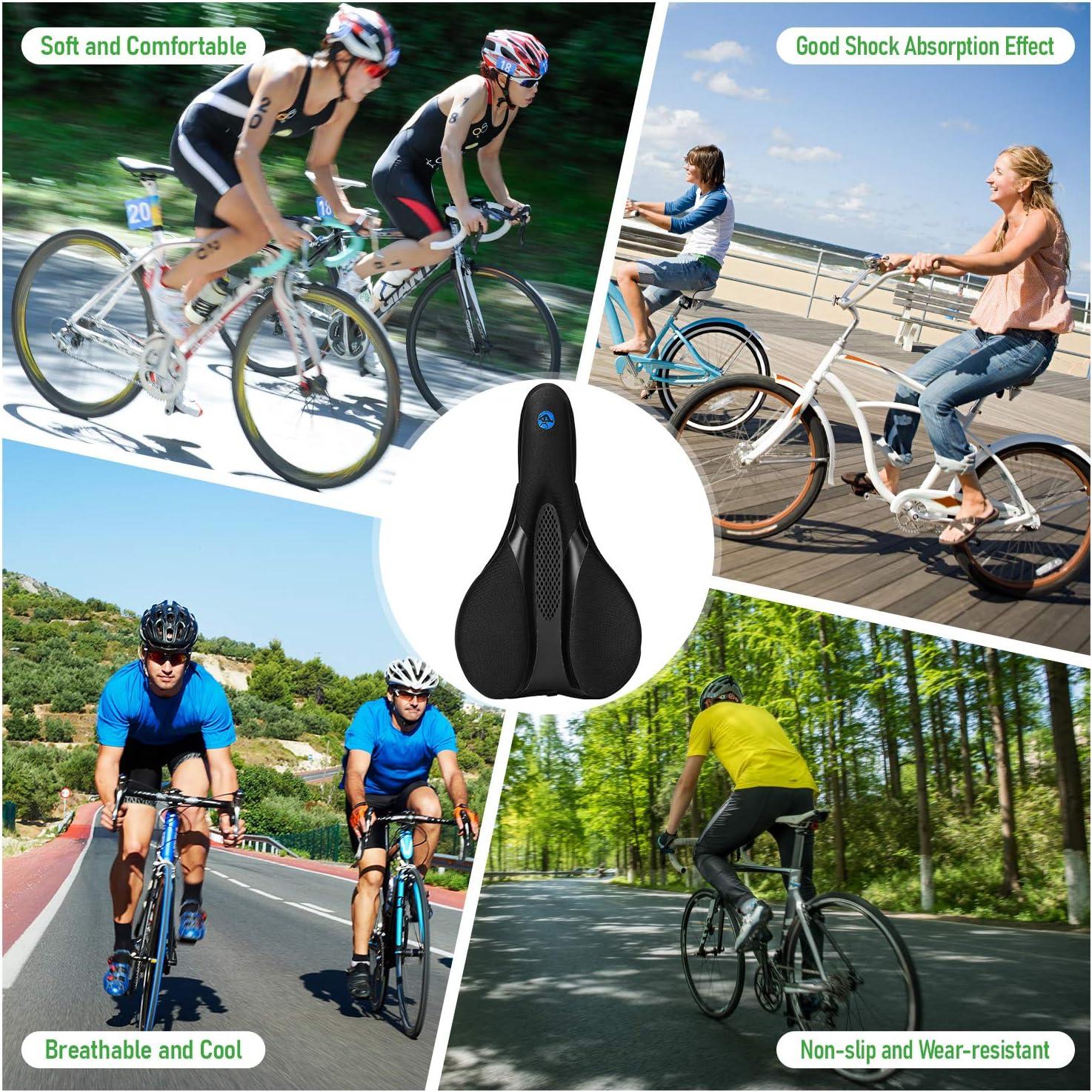 28cm x 17.5cm Faneam Cubierta de Asiento de Bicicleta,Transpirable Cubre-sillines de Asiento de MTB Bicicleta,Cubierta de Asiento de Bicicleta con Efecto Amortiguador,Velcro Ajustable Negro