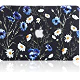 iDonzon MacBook Pro 13 inch Case (A1502 A1425, 2012-2015 Release), 3D Effect Matte Black See Through Hard Cover Compatible Mac Pro 13.3 inch with Retina Display (NO CD-ROM Drive) - Floral Pattern