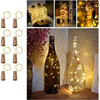 Wine Bottles String Lights with Cork, TERSELY[8 Pack] 2M 20 LED Warm White Waterproof Silver Wire Battery Starry Fairy…