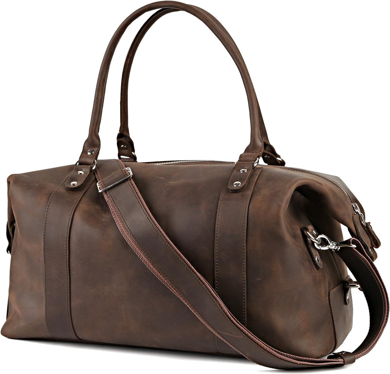 Shvigel Leather Duffel Travel Bag – Sports Gym Bag – Weekender Overnight Luggage