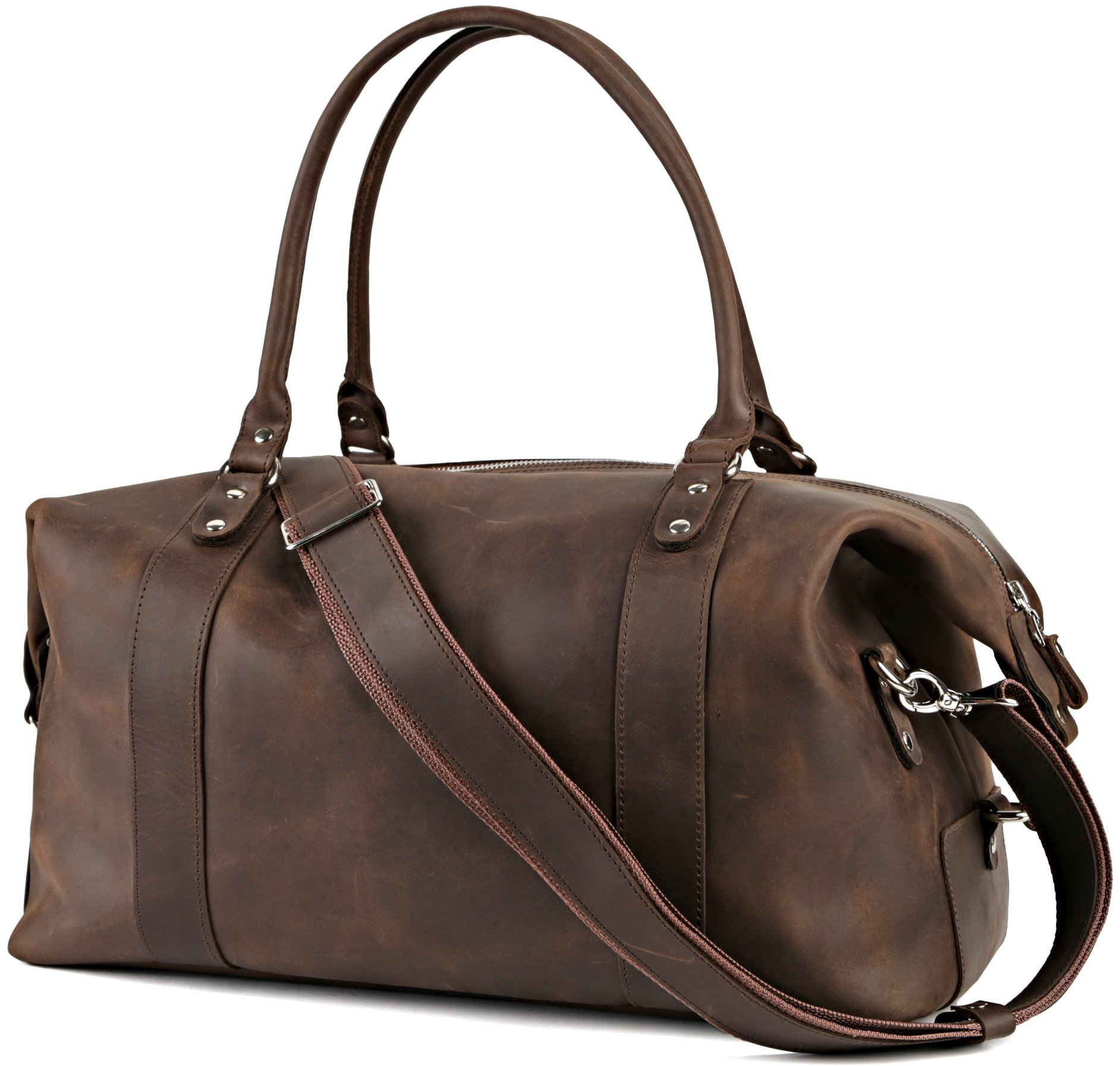 Shvigel Leather Duffel Travel Bag - Sports Gym Bag - Weekend Overnight Luggage Bag - Weekender (Brown Vintage)