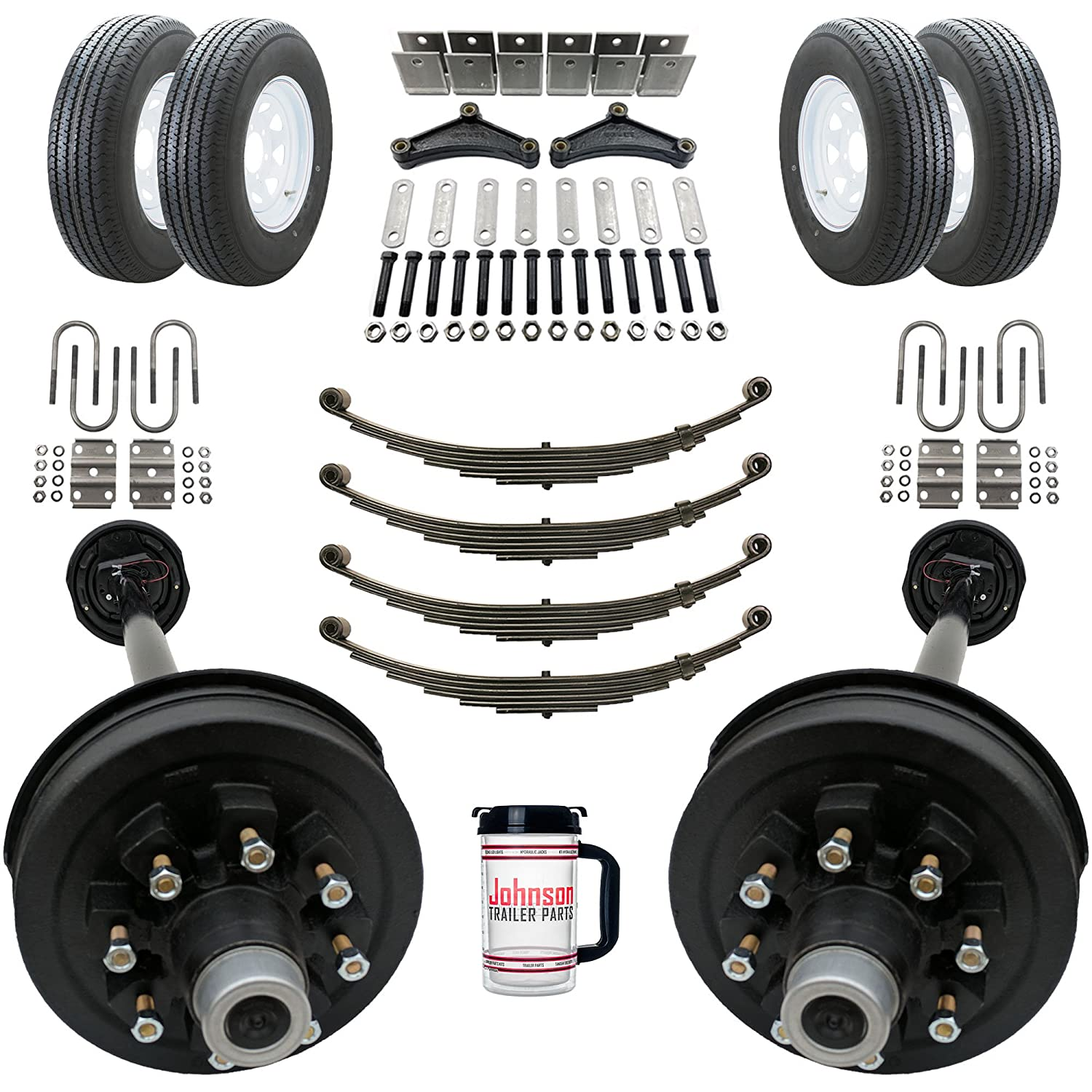 Rockwell American Tandem 7, 000 lb Electric Brake Trailer Axle Kits with Wheels and Tires - 8 Lug 6.5' Bolt Pattern - 14, 000 lb Capacity (94'/95' Hubface - 80' Spring Center) 000 lb Capacity (94/95 Hubface - 80 Spring Center)