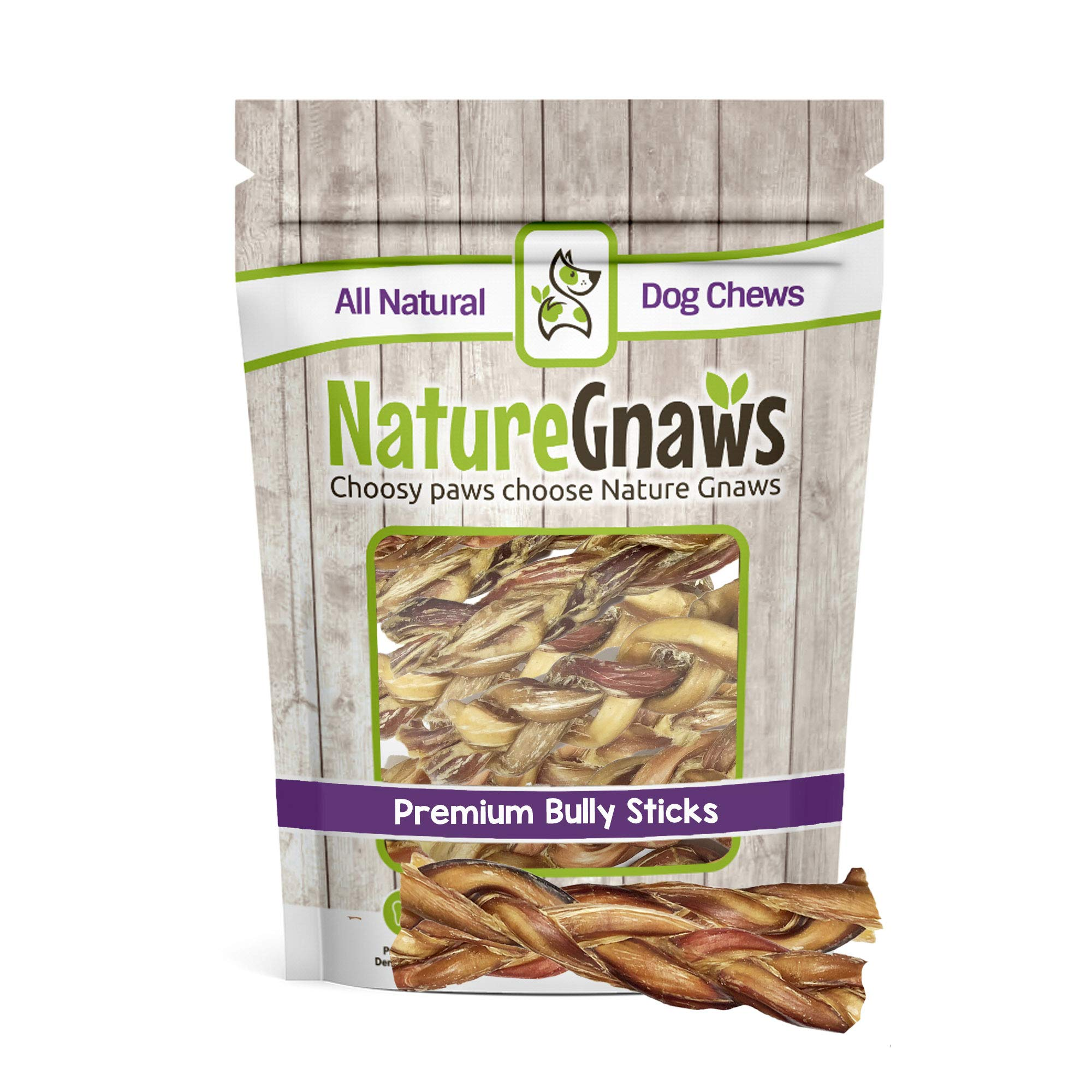 Nature Gnaws Braided Bully Sticks 5-6 inch (10 Pack) - 100% Natural Grass-Fed Free-Range Premium Beef Dog Chews
