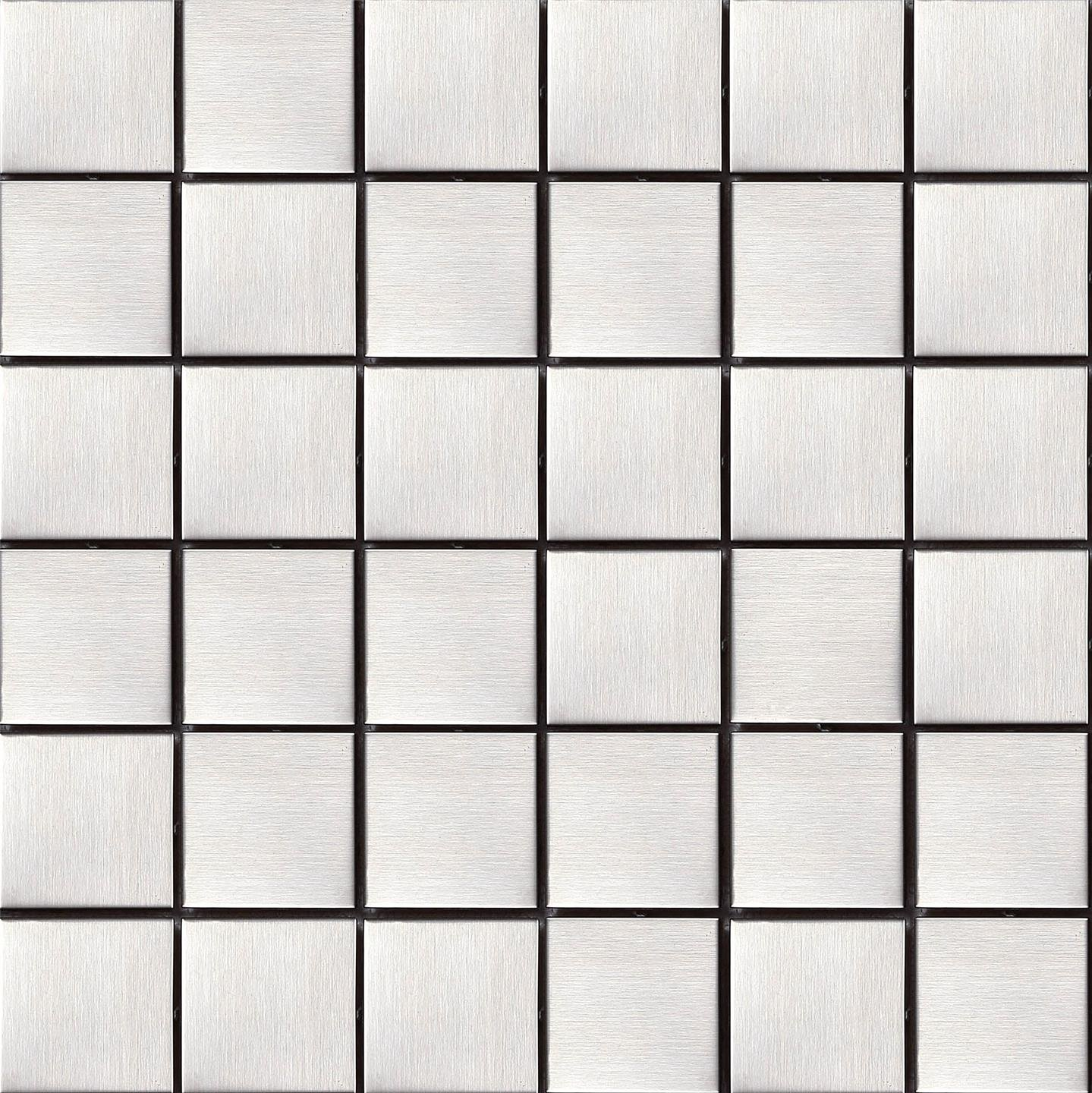 Brushed Silver Stainless Steel Mosaic Tiles Sheet (MT0035) (Sample) Grand Taps