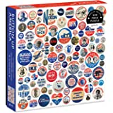 """Galison Button Up America Puzzle, 500 Pieces, 20"""" x 20"""" – Jigsaw Puzzle Featuring A Photo of Political Campaign Buttons from"""