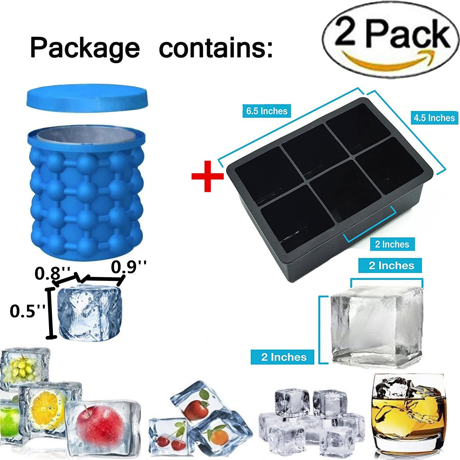 Ice Cube Maker Tray Set,1 Pack 4 Large Ice Ball Maker Tray Mold with 1 Pack Ice Cube Maker Genie Silicone Ice Trays Bucket Include Removable Lid Easy Release Freezer Molds for Dishwasher Safe Black