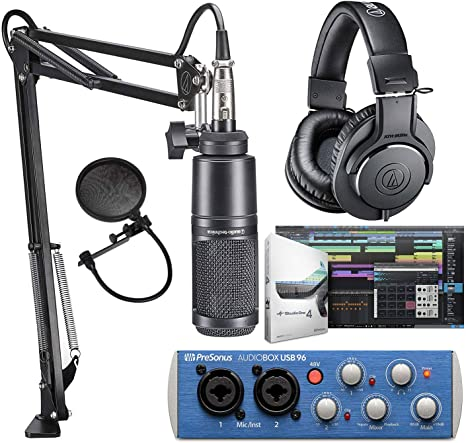 Audio-Technica AT2020PK Micrófono de estudio con ATH-M20x, Boom & XLR Cable Streaming/Podcasting Pack e interfaz de audio PreSonus AudioBox USB 96: Amazon.es: Instrumentos musicales