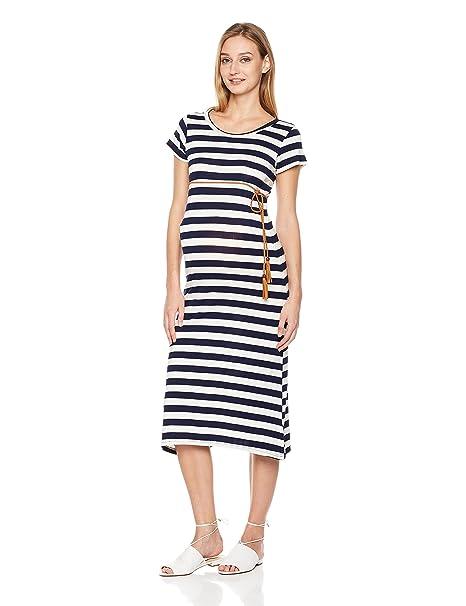 627a312052 Amazon.com  Abie Maternity Stretch Stripe Bodycon Maxi Dress with Belt   Clothing