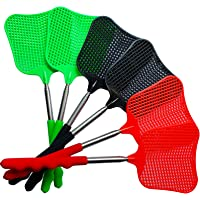 Lecoku 6 Pack Telescopic Fly Swatter Manual Heavy Duty Plastic Flyswatter with Extendable Stainless Steel Pole 3 Colors