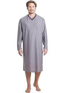 Hajo Herren Nachthemd Sleepshirt langer Arm Rundkragen Knopfleiste Klima Komfort