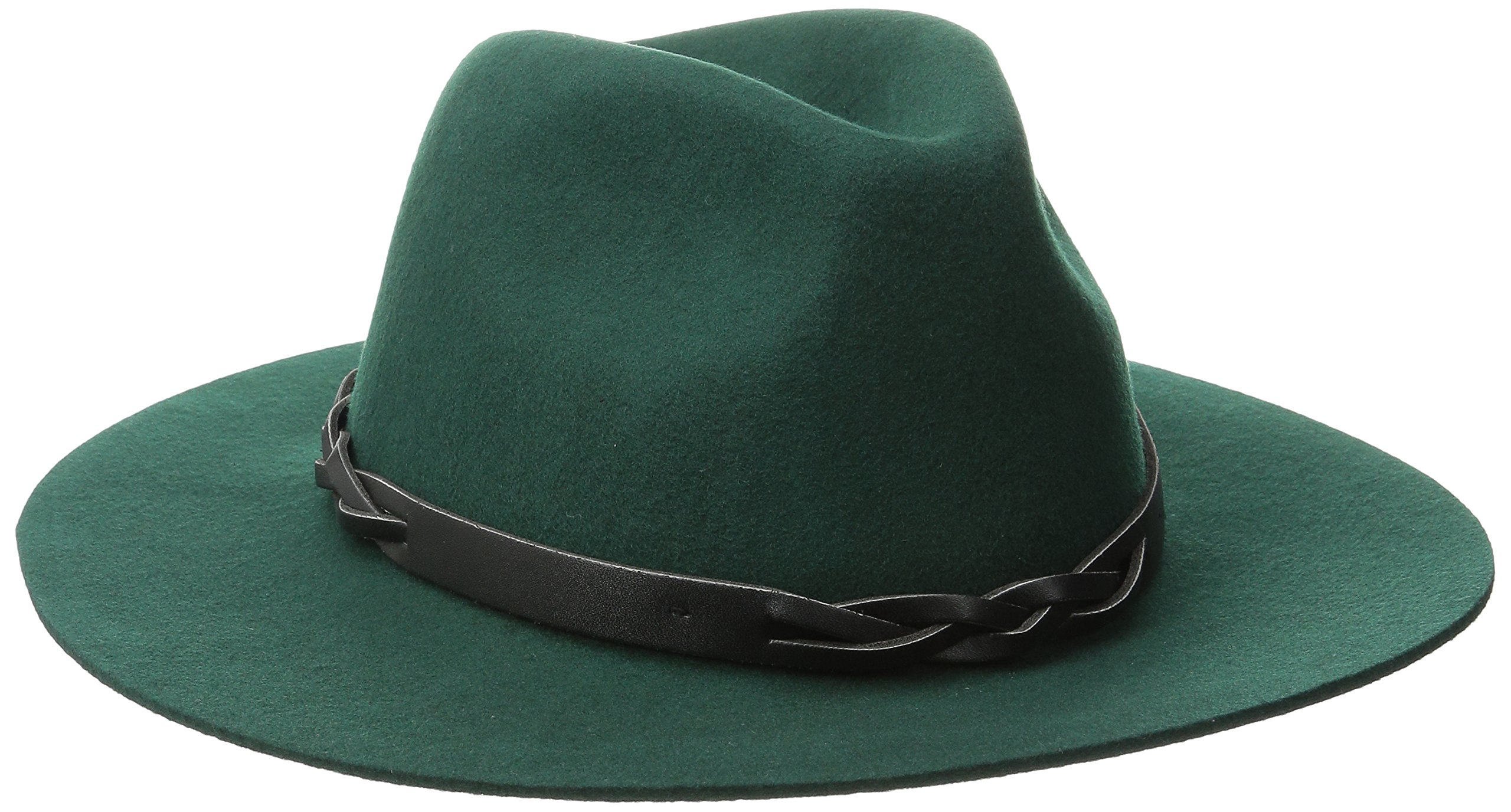 San Diego Hat Company Women's Adjustable Fedora with Woven Pu Band and Raw Edge, Spruce, One Size