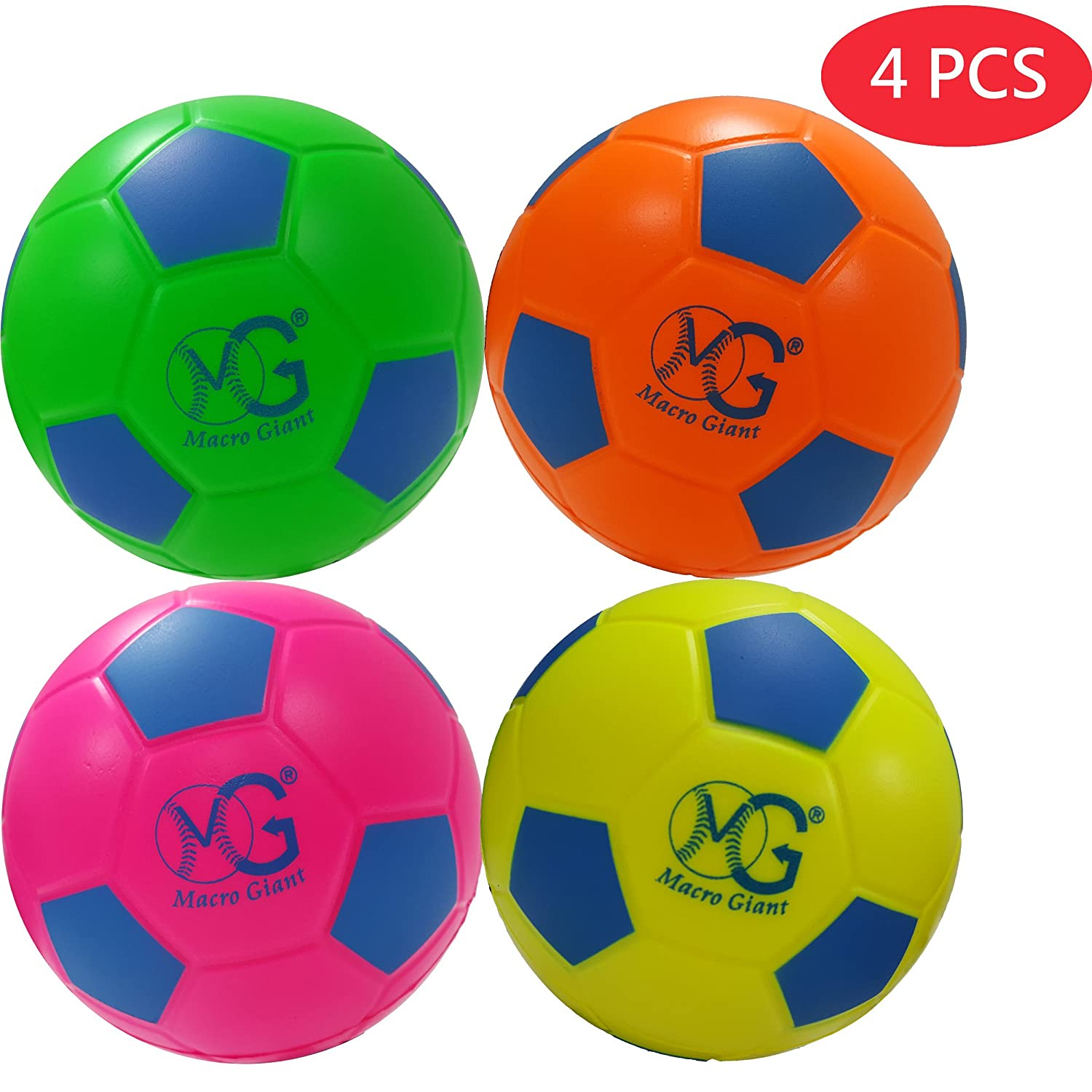 Macro Giant 15cm Safe Soft Foam Training Practise Soccer Ball, Set of 4, Neon Colours, Playground Ball, Kid Sports Toys, Kickball, Beach Activity, School Playground, Kid Toy Gift, New Year Gift B01M69SQM3