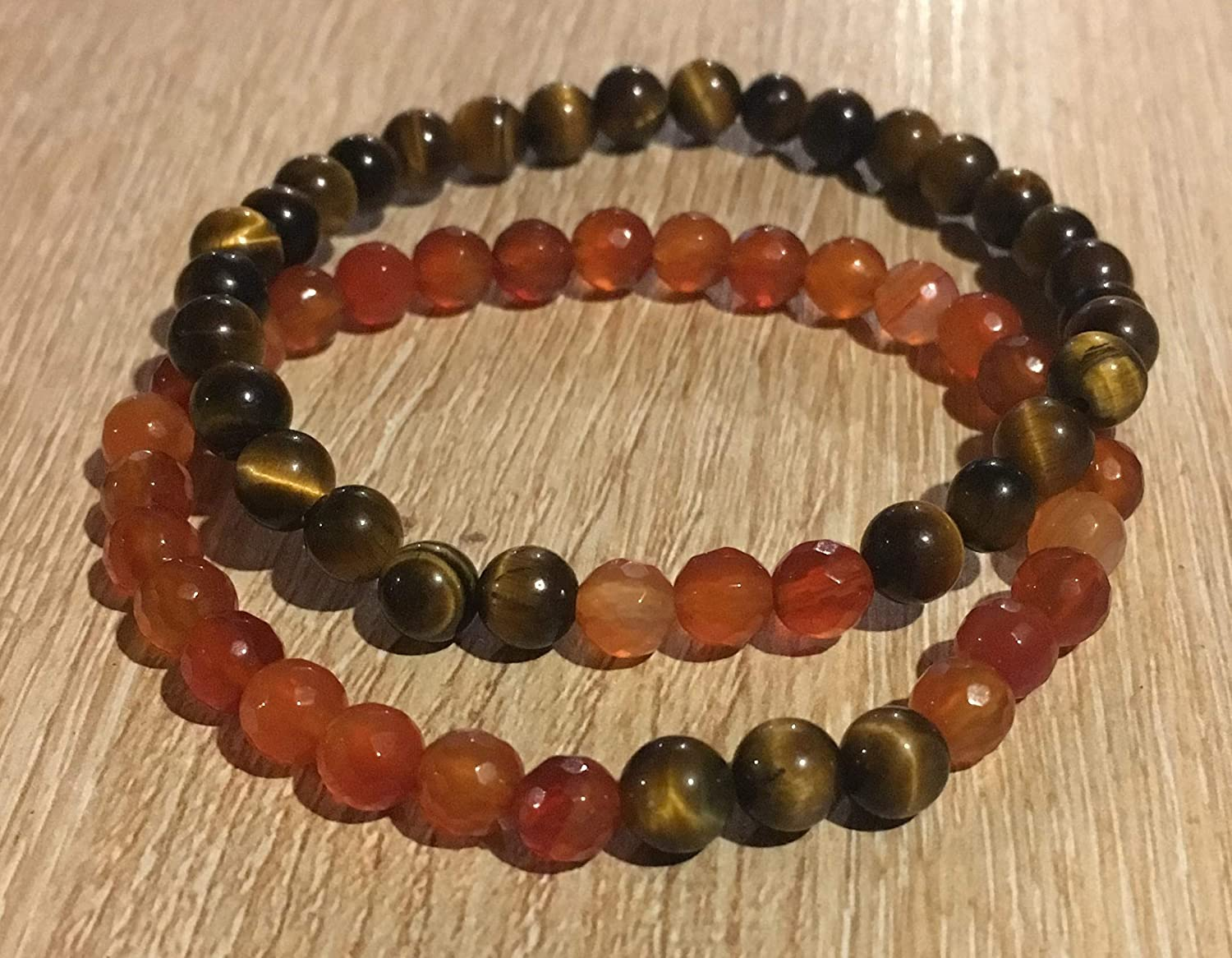 Bracelet duo COUPLE lovers or friends protection distance healing carnelian and tiger eye beads natural stone semi-precious