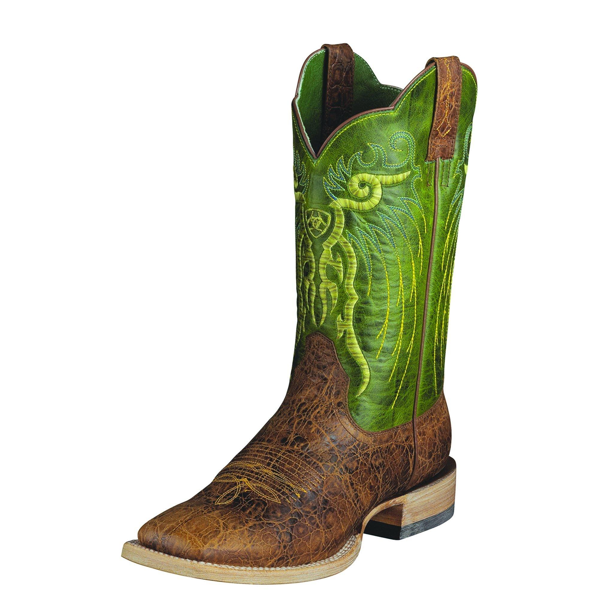 Ariat Men's Mesteno Western Cowboy Boot, Adobe Clay/Neon Lime, 9 W US