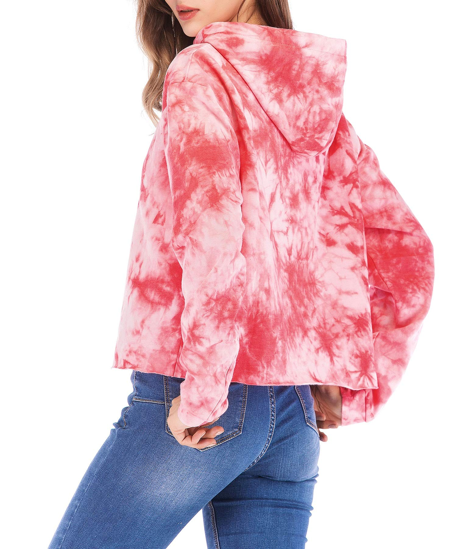 Eanklosco Womens Casual Long Sleeve Tie Dye Hoody (Pink, L)