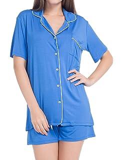 lantisan Cotton Pajamas for Women,Long Sleeved Button Down Notch Collar PJ Set