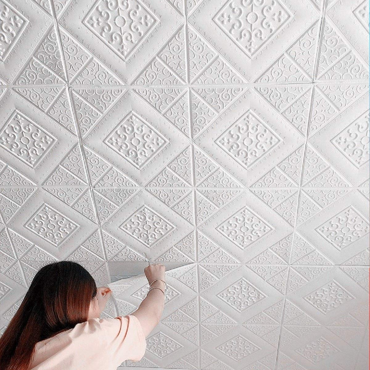 Buy Nasmodo 3d Ceiling Tiles Panel Vinyl Wallpaper Stickers Waterproof Foam Self Adhesive Wall Stickers For Home Living Room Bedroom Wall Panels Tiles Paper For Decoration 70 70 Cm 4 Diamond Online