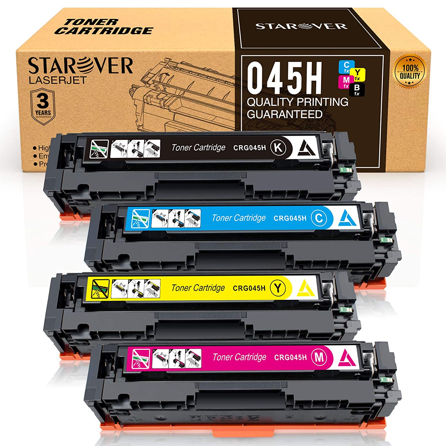 STAROVER Compatible Toner Cartridges Replacement for Canon 045 045H 4 Pack CRG-045H for Canon Color imageCLASS MF634Cdw MF632Cdw LBP612Cdw LBP613Cdw LBP611Cn Laser Printer