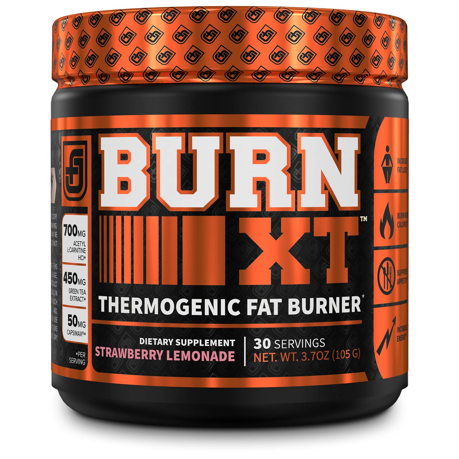 Burn-XT Thermogenic Fat Burner Powder - Weight Loss Supplement, Appetite Suppressant, Pre Workout Energy Booster - Acetyl L Carnitine, Green Tea Extract (EGCG), Capsimax - 30 Sv, Strawberry Lemonade by Jacked Factory