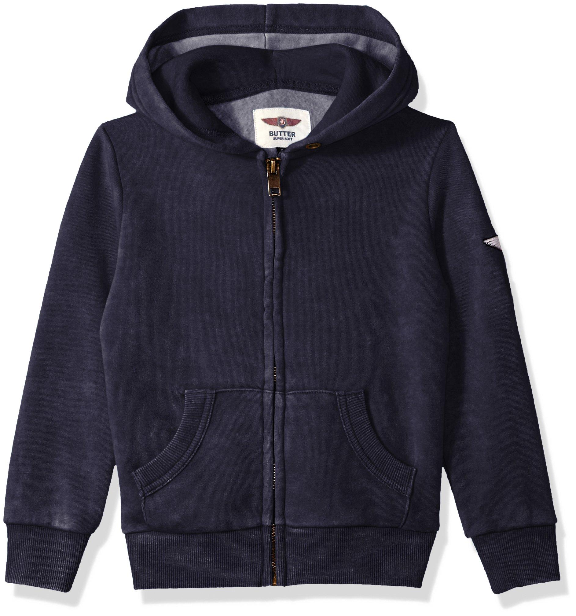 Butter Boys' Little Long Sleeve Fleece Hoodie, Maritime Blue, 6