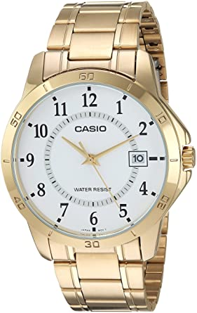 Casio #MTP-V004G-7B Mens Standard Gold Tone Stainless Steel White Dial Date