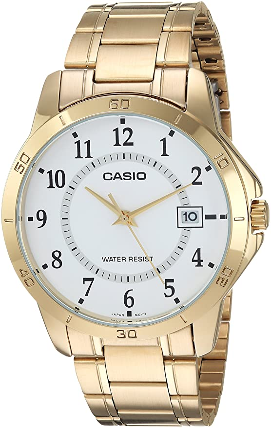 Amazon.com: Casio #MTP-V004G-7B Mens Standard Gold Tone Stainless Steel White Dial Date Watch: Watches