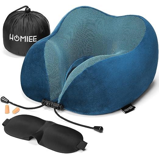 HOMIEE Reise Nackenkissen,Orthopädisches Nackenkissen, Schlafen Memory Foam Stoff Ergonomisches Nackenstützkissen für optimal