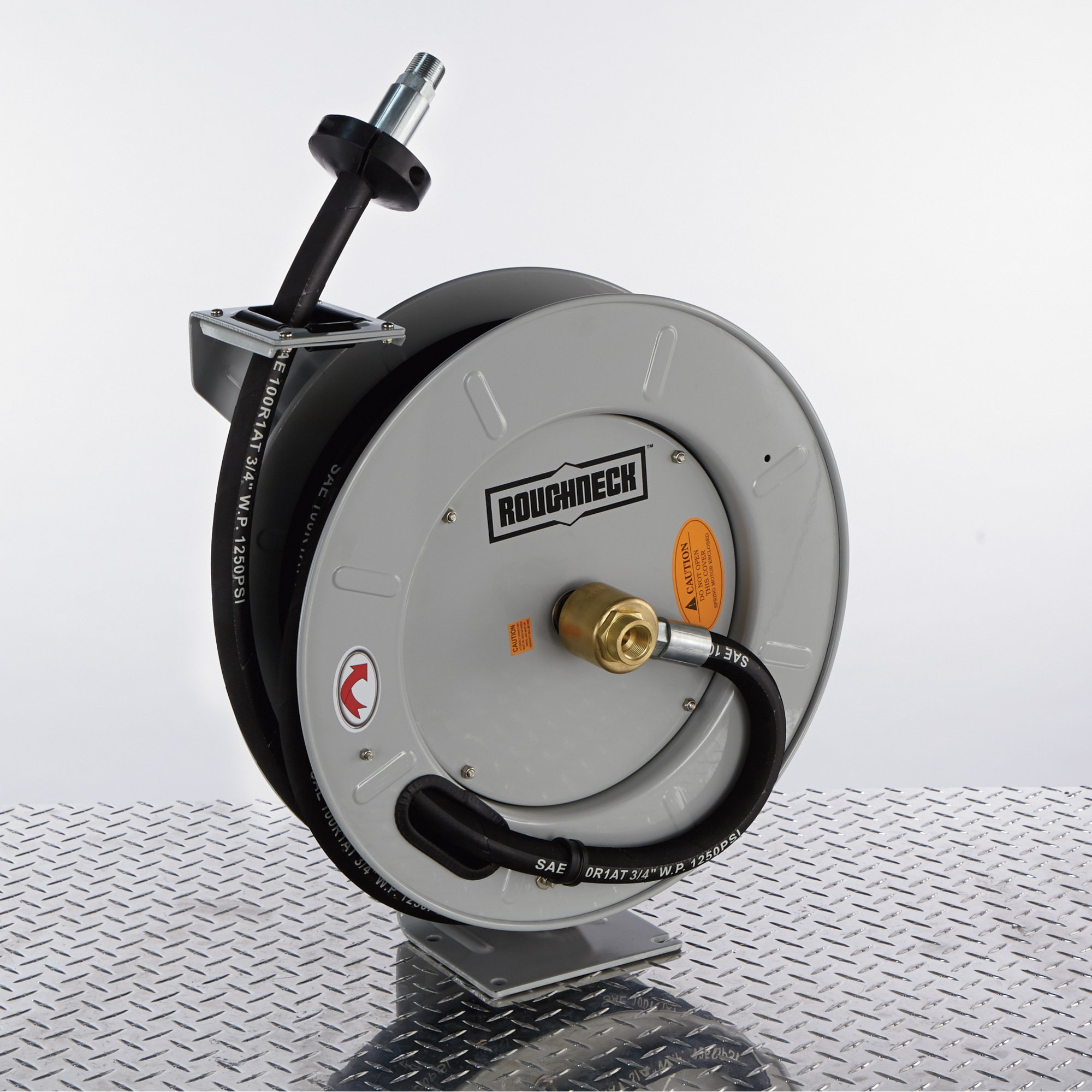 Roughneck Spring-Rewind Fuel and Oil Hose Reel with Hose - 1250 PSI
