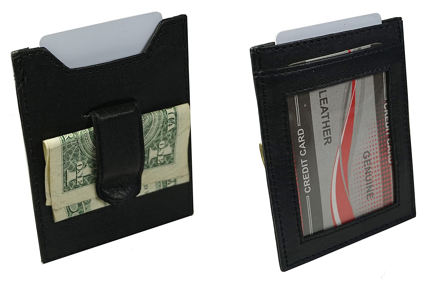 Genuine Leather Money Clip Credit Card Id Holder Black Mens Wallet