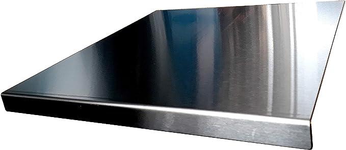 Protector de encimera de acero inoxidable con borde cuadrado, plano o redondo (incluye pies de goma antideslizantes), acero inoxidable, Plateado, 500 ...