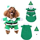 SCENEREAL Christmas Dog Costumes with Hat Cute Santa Claus Pet Clothes Suit Xmas Outfits for Small Medium Dogs Cats Puppy Cosplay Holiday Gifts Green