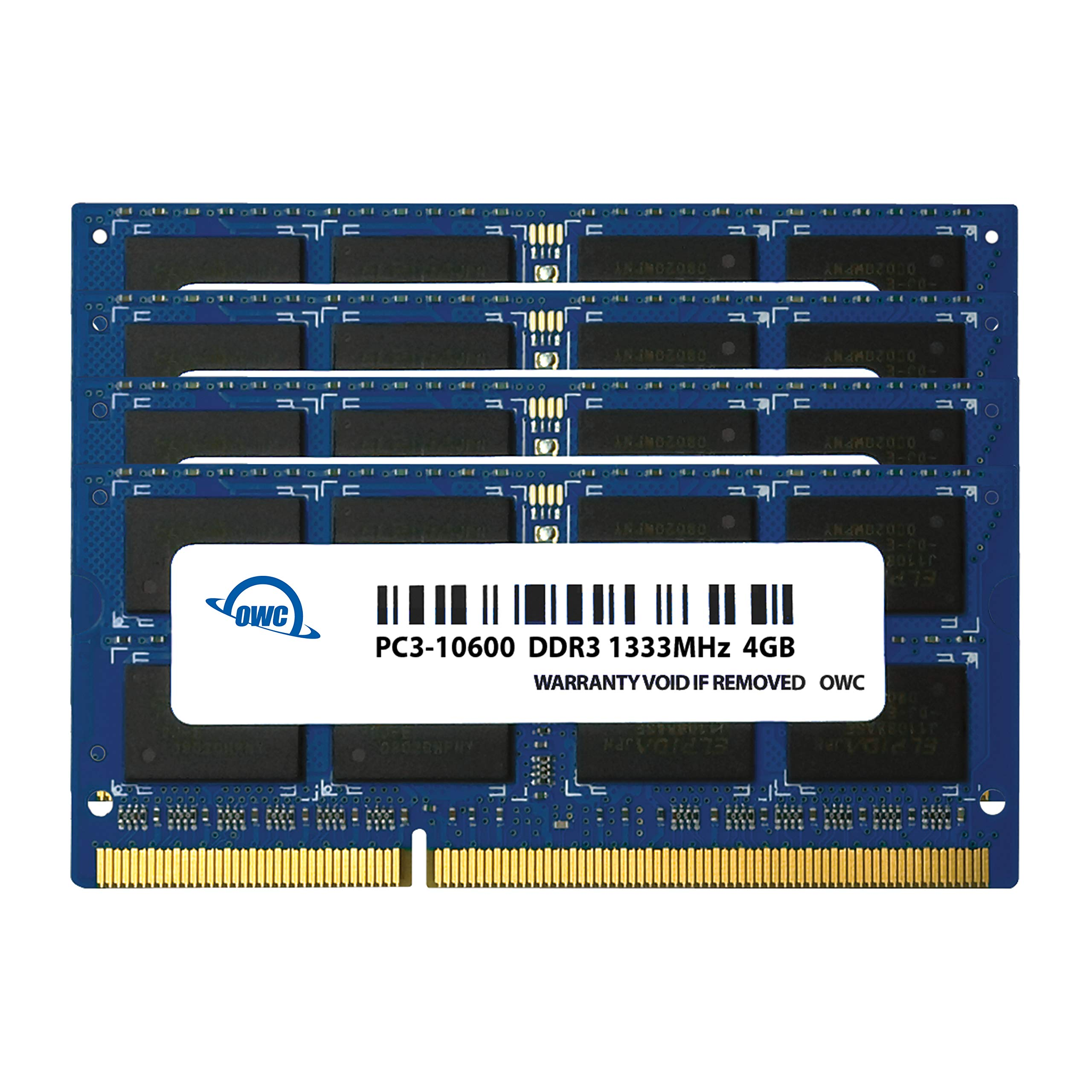 Memoria RAM 4GB OWC 16.0GB (4X ) 1333MHz 204-Pin DDR3 SO-DIMM PC3-10600 CL9 Upgrade Kit para iMac (OWC1333DDR3S16S)