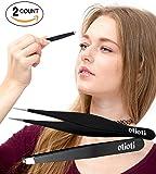Tweezers Set-Slant Tweezers and Pointed Tweezers,Precision Eyebrow Tweezers and Ingrown Hair Remover 2 Pieces
