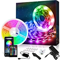32.8 ft LED Strip Lights Music Sync LED Lights for Bedroom with RF Remote App Controlled with Built-in Mic Color Changing 5050 RGB LED Light Strip (32.8 Ft APP+ Remote+ Mic)
