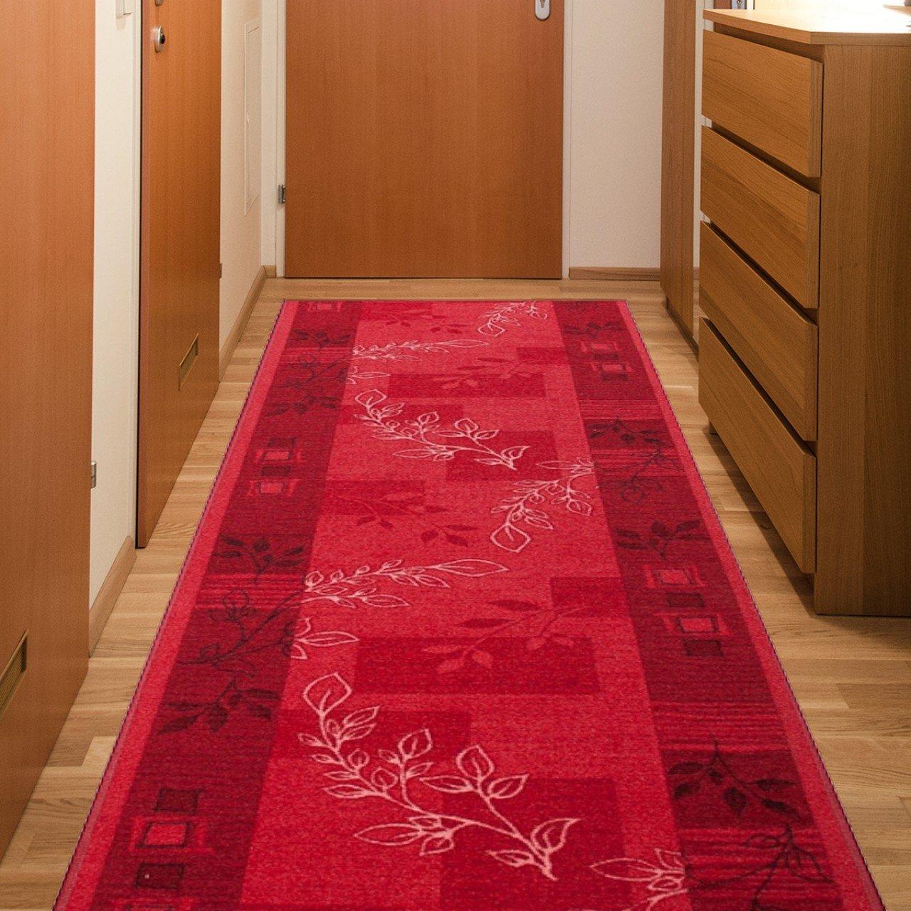 Tapiso Anti Rutsch Teppich Läufer Rutschfest Brücke Meterware Modern Rot Vierecke Floral Design Flur Küche Wohnzimmer 100 x 400 cm