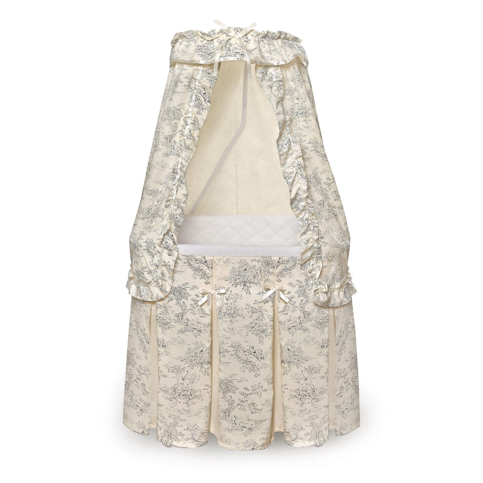 Durable Badger Basket Majesty Baby Bassinet with Canopy Black Toile Bedding by Badger Basket