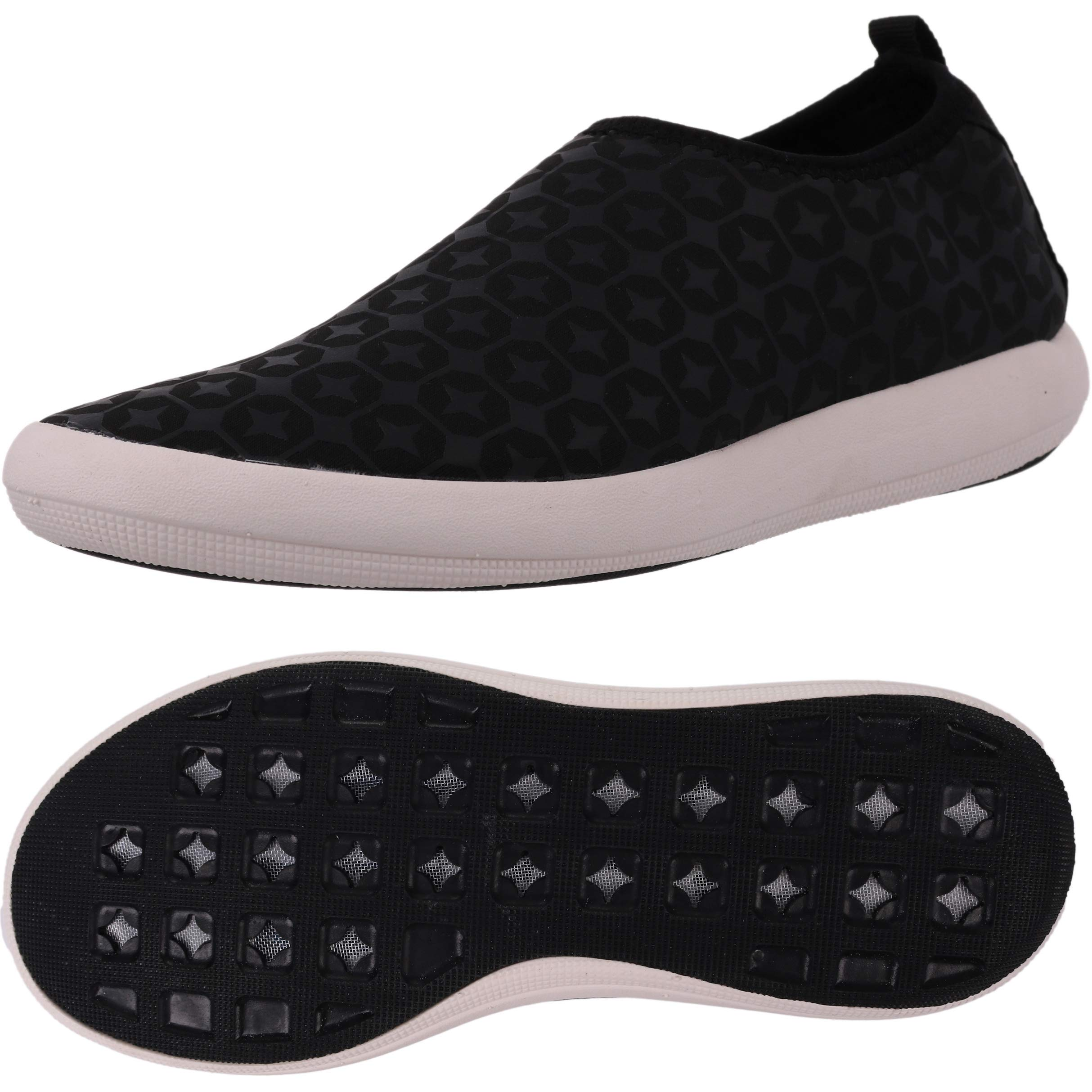 BRONAX Boys Water Shoes Lightweight Slip on Hiking Beach Outdoor Tennis Sneakers for Youth Black Size 5.5