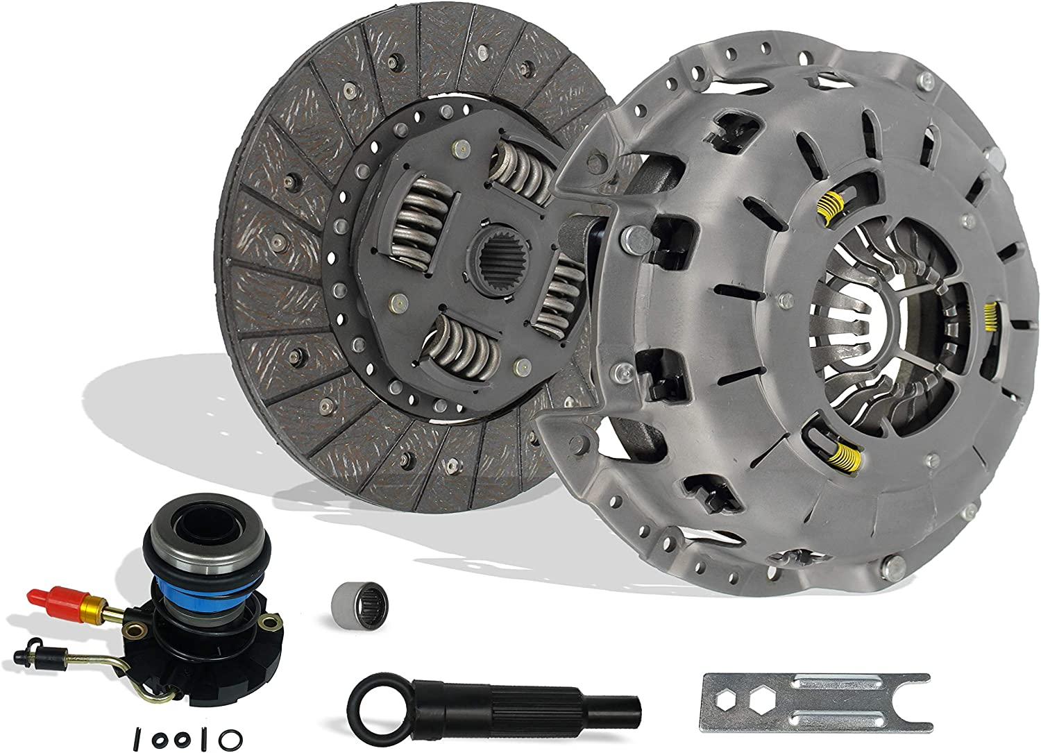 Clutch And Slave Kit Set Works With Ford Ranger Mazda B2300 B2500 B3000 Bse Xl Xlt Limited Sport Stx Ds 1995-2011 2.3L L4 Gas Dohc 2.5L Gas Sohc L4 3.0L V6 Gas Ovh (Self-Adjusting Clutch Cover)