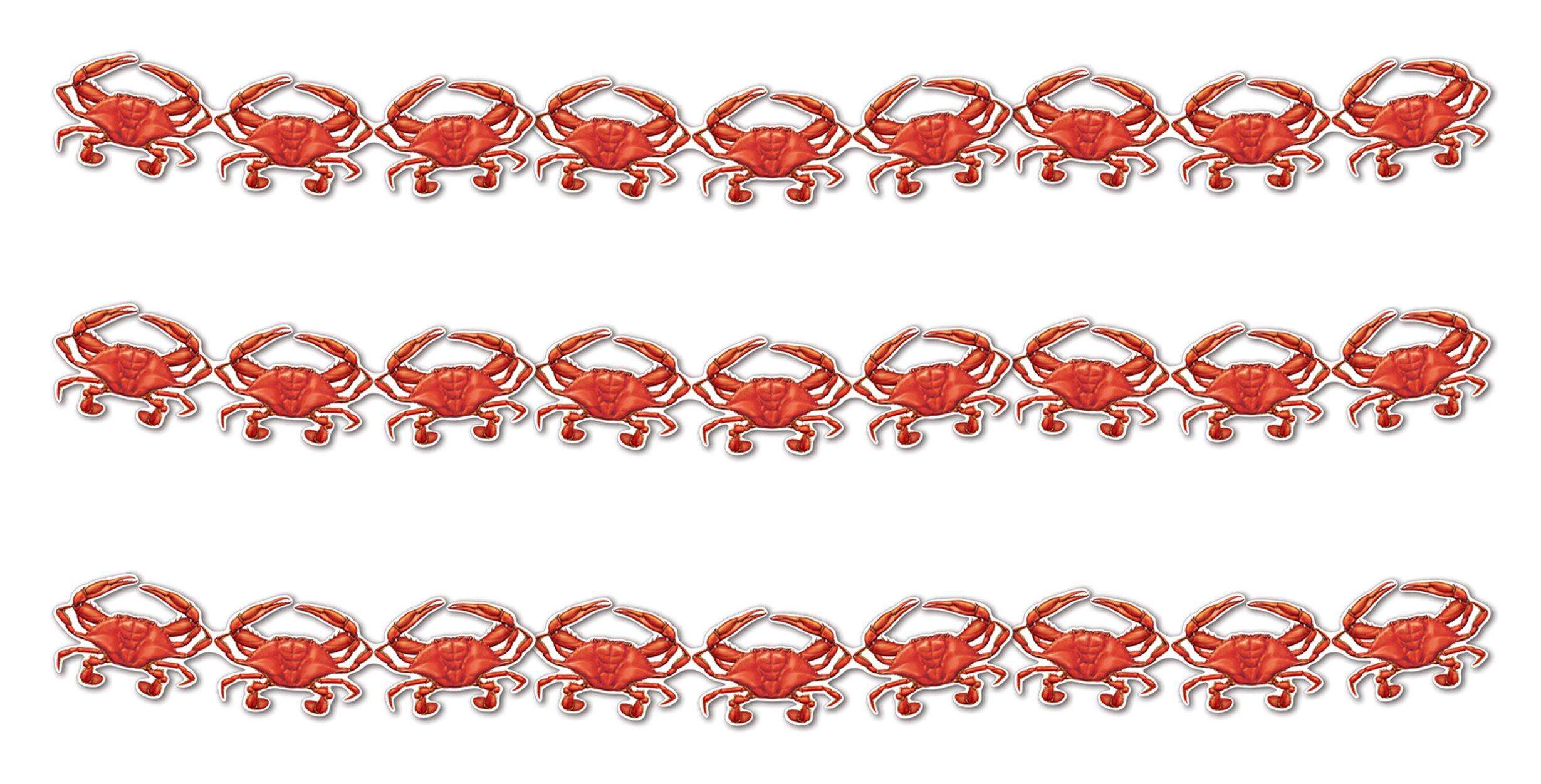 Beistle S57445AZ3, 3 Piece Crab Streamers, 6.5'' x 6' (Red/White)