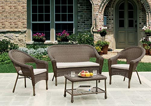 W Unlimited Dragon Power Investment Brown Wicker 4-Piece Outdoor Dinning Set Includes 2 Armchair